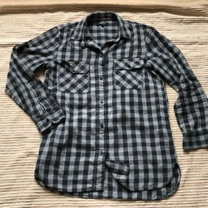 Madewell Flannel Navy/Gray Check Shirt XS
